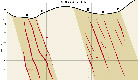cross-section of gold mineralisation zone